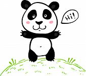 Little cute doodle drawing vector panda