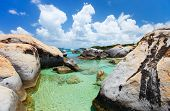 The Baths beach area major tourist attraction at Virgin Gorda, British Virgin Islands with turquoise