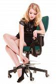 Work Stoppage. Tired Businesswoman Massaging Feet