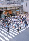 Workers in Osaka downtown Japan.