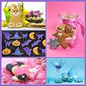Multi Holiday Food And Drink Collage Of Five Colorful Images For Christmas, New Year, Easter, Valent