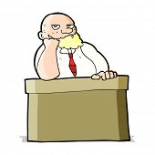 cartoon bored man at desk