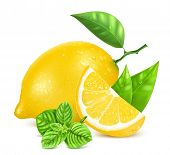 pic of peppermint  - Fresh lemon with leaves - JPG
