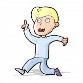 cartoon boy panicking