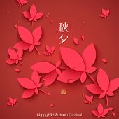 Vector Oriental Paper Maple Leaves. Translation, Main: Mid Autumn Festival (Chuseok), Stamp: Blessed