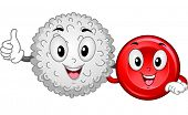 picture of red-blood-cell  - Mascot Illustration Featuring a White Blood Cell and a Red Blood Cell Hanging Together - JPG