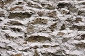 Stone Wall With White Cement Closeup