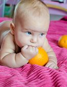 Baby is trying to taste orange
