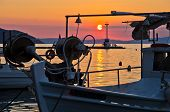 Fishing boats in Limenas harbour at sunset, island of Thassos