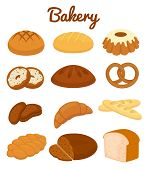 Set of colorful bakery icons