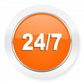 24/7 orange computer icon