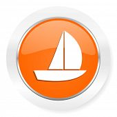 yacht orange computer icon