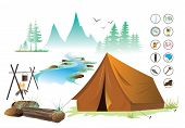 View Of Camping And Equipment Symbols