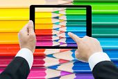 Businessman Hands Tablet Taking Pictures Close Up Color Pencils