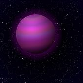 Cartoon Jupiter in open space