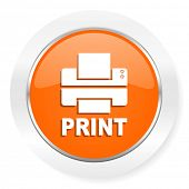 printer orange computer icon