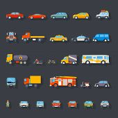 picture of car carrier  - Stylish Retro Car Line Icons Isolated Transport Symbols Vector Illustration - JPG