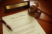 stock photo of nameplates  - Divorce Decree with gavel and Attorney nameplate - JPG