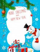 Poster with snowman on blue background. Copy space.