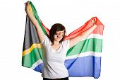 Young Happy And Cheerful Female, Holds South Africa Flag, Isolated