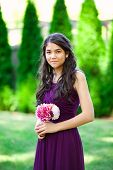 Beautiful Biracial Bridesmaid In Purple Dress, Smiling