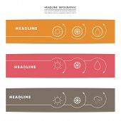 Set of banners with contour elements eps