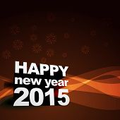 vector background of new year 2015 with transparent wave at the back