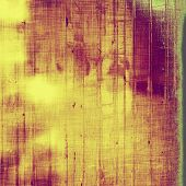 Abstract grunge background with retro design elements and different color patterns: yellow; purple (violet); green