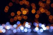 Christmas Garland Lights In Warm And Blue Colors - Bokeh