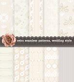 Retro Seamless Patterns, Wedding Style