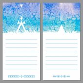 Page templates are notepad, leaflets, cards. Aztec watercolor background.