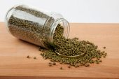 Mung Beans In  Jar On Wood Table