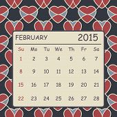Calendar February 2015 Design. Hearts Pattern Background
