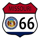 Route 66 Missouri Sign And Flag