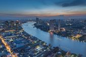 Curved view of  Chao Phraya River in Bangkok