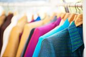 stock photo of local shop  - Thai silk shirt retail made clothing thailand souvenir
