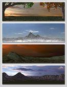 four different fantasy landscapes