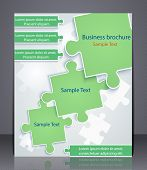 Business brochure with elements of puzzles.