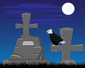 picture of burial-vault  - Vector illustration graveyard with grave in the night - JPG