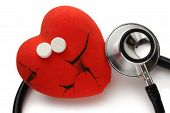 Red Heart, Stethoscope And Pills
