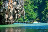 Huge Limestone Cliff In The Phang Nga Bay, Thailand
