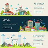 Illustration of flat design urban landscape compositions