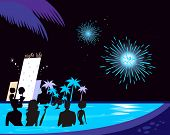 Water party night: People silhouette in pool & fireworks behind