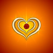 Vector abstract bright red background with golden hearts and gemstone