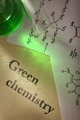 picture of reaction  - Green chemistry with reaction formula in closeup - JPG