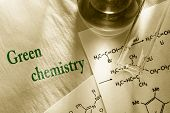 foto of reaction  - Green chemistry with reaction formula in closeup - JPG