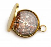 Compass With Wooden Surface Inside