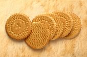 Round Biscuits On Stained Background