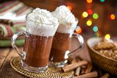 pic of whipping  - Hot chocolate with whipped cream in two glasses - JPG