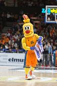 VALENCIA, SPAIN - DECEMBER 5: Valencia Basket mascot during Euroleague match between Valencia Basket Club and Crvena Zvezda Telekom Belgrade at Fonteta Stadium on Dicember 5, 2014 in Valencia, Spain